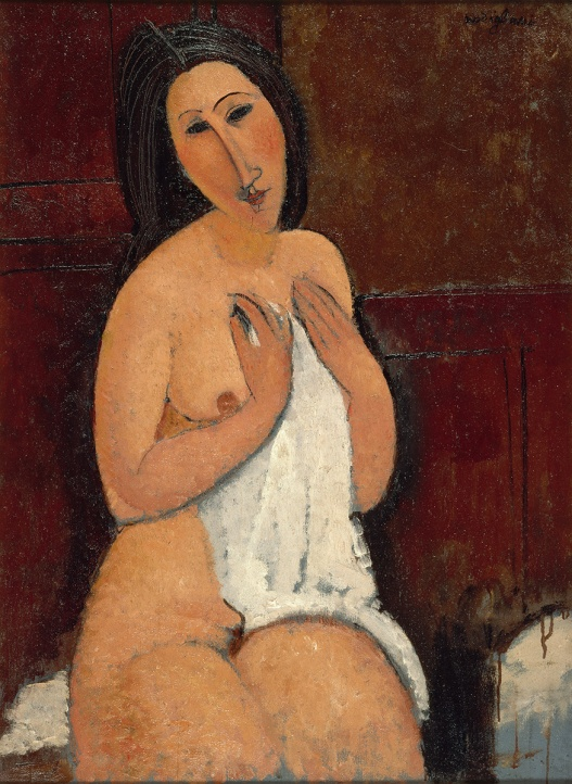 "Modigliani's ""Seated Nude with a Shirt"" (1917) Image: ateneum.fi"