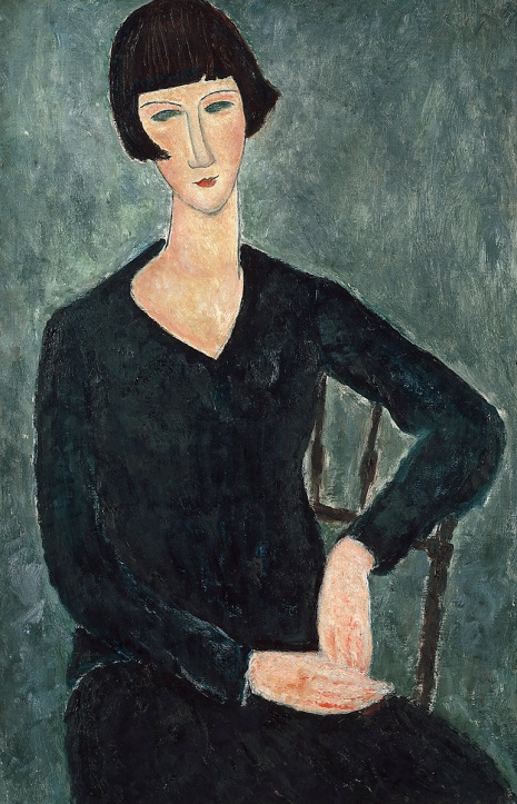 "Modigliani's ""Woman in a Blue Dress, Seated"" (1917-1919) Image: ateneum.fi"